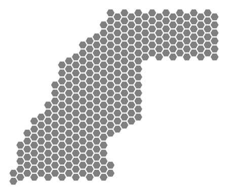 Grey hexagon Western Sahara Map. Vector geographic map in gray color on a white background. Vector mosaic of Western Sahara Map created of hexagonal blots.