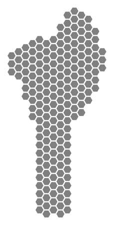 Grey hexagon Benin Map. Vector geographic map in gray color on a white background. Vector mosaic of Benin Map combined of hexagonal elements.