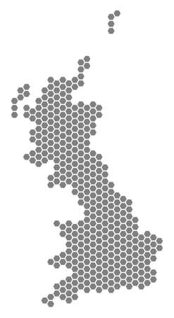 Grey hexagonal Great Britain Map. Vector geographical map in gray color on a white background. Vector mosaic of Great Britain Map constructed of hexagon dots. Illusztráció