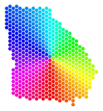 Hexagon spectrum American State Georgia Map. Vector geographic map in bright colors on a white background.
