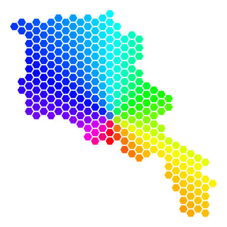 Hexagon spectrum Armenia Map. Vector geographic map in bright colors on a white background.