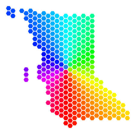 Spectrum hexagon British Columbia Province Map. Vector geographic map in rainbow colors on a white background.