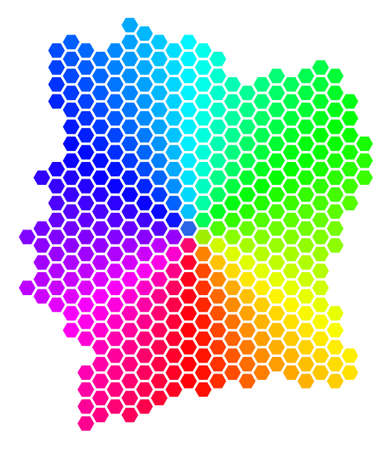 Spectrum hexagon Cote D Ivoire Map. A Vector geographic map in bright colors on a white background.