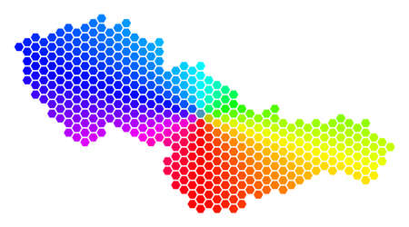 Hexagon spectrum Czechoslovakia Map. A Vector geographic map in rainbow colors on a white background.