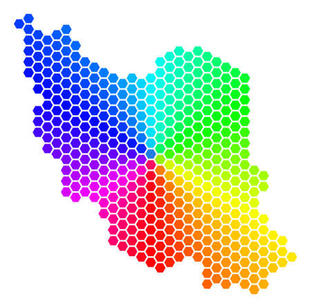 Hexagon spectrum Iran Map. Vector geographic map in bright colors on a white background. Spectrum has circular gradient. Color vector collage of Iran Map done of hexagonal dots.