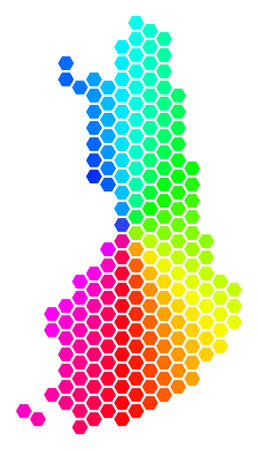 Hexagon spectrum Finland Map. Vector geographic map in rainbow colors on a white background. Spectrum has circular gradient. Color vector mosaic of Finland Map made of hexagonal blots.