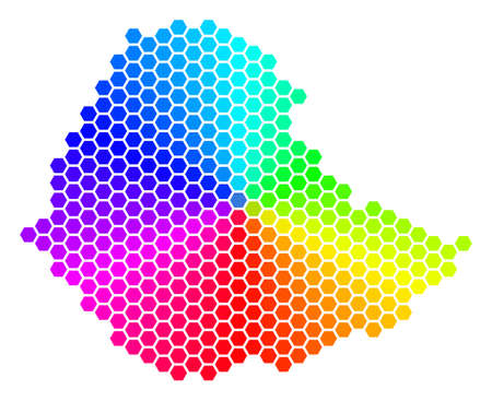 Hexagon spectrum Ethiopia Map. Vector geographic map in rainbow colors on a white background. Spectrum has circular gradient. Color vector mosaic of Ethiopia Map designed of hexagon elements. Illustration