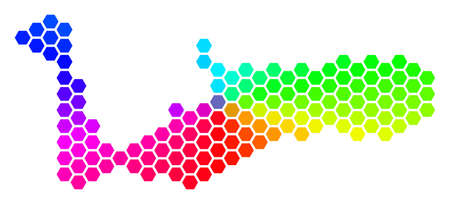 Spectrum hexagon Grand Cayman Island Map. Vector geographic map in rainbow colors on a white background. Spectrum has circular gradient.