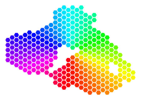 Spectrum hexagon Greek Lesbos Island Map. Vector geographic map in bright colors on a white background. Spectrum has circular gradient. Illustration