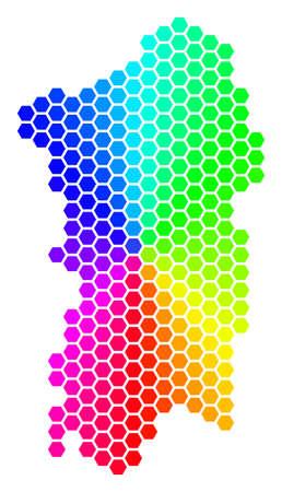 Spectrum hexagon Italian Sardinia Island Map. Vector geographic map in rainbow colors on a white background. Spectrum has circular gradient.