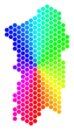 Spectrum hexagon Italian Sardinia Island Map. Vector geographic map in rainbow colors on a white background. Spectrum has circular gradient.
