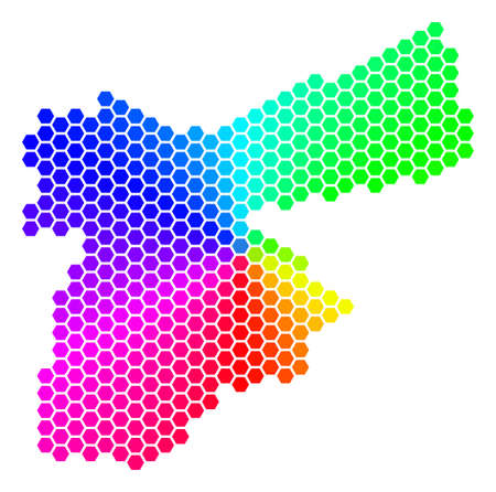 Hexagon spectrum Jordan Map. Vector geographic map in bright colors on a white background. Spectrum has circular gradient. Multicolored vector composition of Jordan Map organized of hexagon dots.