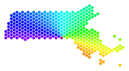 Hexagon spectrum Massachusetts State Map. Vector geographic map in bright colors on a white background. Spectrum has circular gradient.