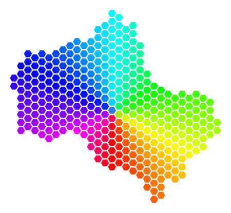 Hexagon spectrum Moscow Oblast Map. Vector geographic map in rainbow colors on a white background. Spectrum has circular gradient.