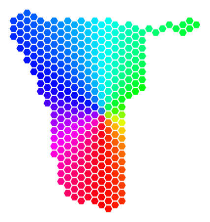 Hexagon spectrum Namibia Map. Vector geographic map in rainbow colors on a white background. Spectrum has circular gradient. Colorful vector composition of Namibia Map constructed of hexagon elements. Çizim