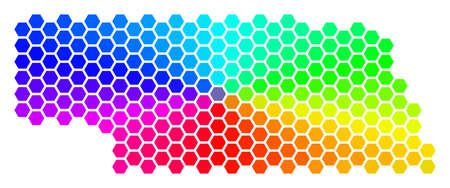 Spectrum hexagon Nebraska State Map. Vector geographic map in rainbow colors on a white background. Spectrum has circular gradient.