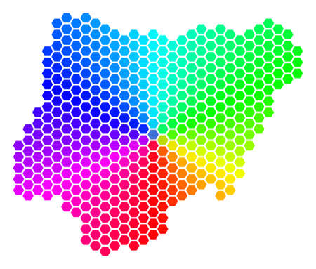 Hexagon spectrum Nigeria Map. Vector geographic map in rainbow colors on a white background. Spectrum has circular gradient. Color vector composition of Nigeria Map constructed of hexagon dots. Illustration