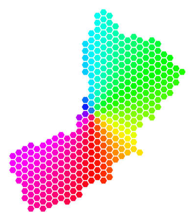 Hexagon spectrum Oman Map. Vector geographic map in rainbow colors on a white background. Spectrum has circular gradient. Color vector composition of Oman Map organized of hexagonal pixels.