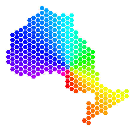 Hexagon spectrum Ontario Province Map. Vector geographic map in bright colors on a white background. Spectrum has circular gradient. Illustration