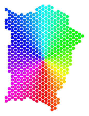 Spectrum hexagon Penang Island Map. Vector geographic map in bright colors on a white background. Spectrum has circular gradient. Illustration