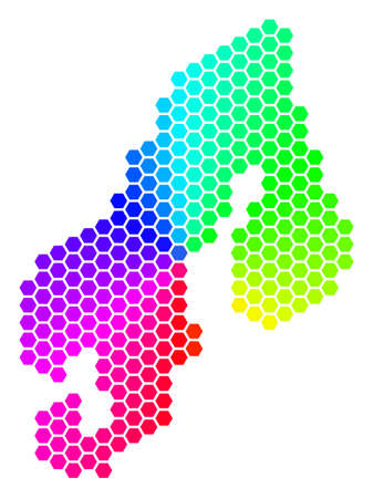 Spectrum hexagon Scandinavia Map. Vector geographic map in rainbow colors on a white background. Spectrum has circular gradient.