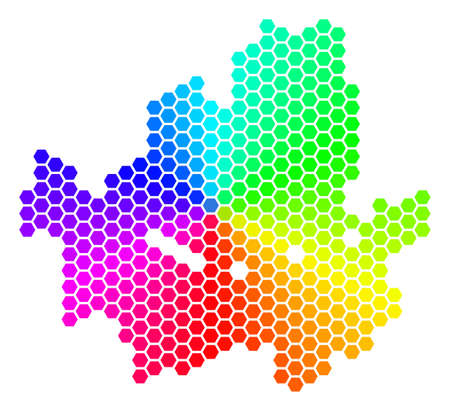Hexagon spectrum Seoul City Map. Vector geographic map in bright colors on a white background. Spectrum has circular gradient.