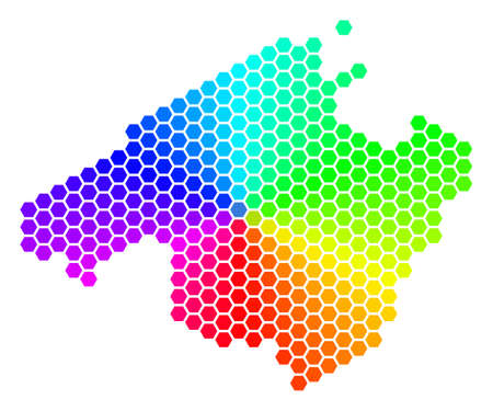 Hexagon spectrum Spain Mallorca Island Map. Vector geographic map in bright colors on a white background. Spectrum has circular gradient.