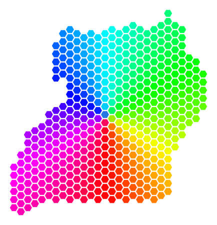 Hexagon spectrum Uganda Map. Vector geographic map in bright colors on a white background. Spectrum has circular gradient. Color vector concept of Uganda Map combined of hexagon blots.