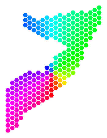 Hexagon spectrum Somalia Map. Vector geographic map in bright colors on a white background. Spectrum has circular gradient. Color vector collage of Somalia Map composed of hexagon pixels.