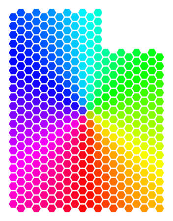 Hexagon spectrum Utah State Map. Vector geographic map in bright colors on a white background. Spectrum has circular gradient. Multicolored vector concept of Utah State Map made of hexagonal items.