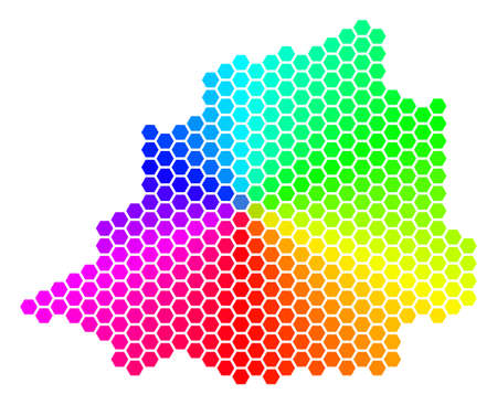Spectrum hexagon Vatican Map. Vector geographic map in bright colors on a white background. Spectrum has circular gradient. Multicolored vector pattern of Vatican Map organized of hexagonal elements.