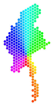 Spectrum hexagon Myanmar Map. Vector geographic map in rainbow colors on a white background. Spectrum has circular gradient. Multicolored vector composition of Myanmar Map made of hexagonal blots.