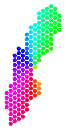 Spectrum hexagon Sweden Map. Vector geographic map in bright colors on a white background. Spectrum has circular gradient. Colorful vector pattern of Sweden Map combined of hexagon elements.