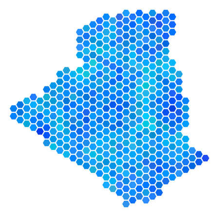 Hexagon Blue Algeria Map. Vector geographic map in blue color tints on a white background. Blue vector concept of Algeria Map constructed of hexagon elements. Vectores