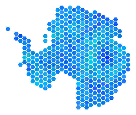 Blue Hexagon Antarctica Map. Vector geographic map in blue color variations on a white background. Blue vector pattern of Antarctica Map designed of hexagonal elements.