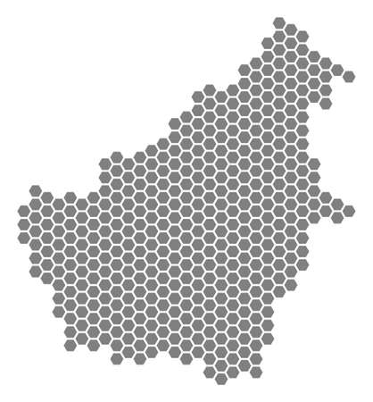 Grey hexagonal Borneo Island Map. Raster geographic map in gray color on a white background. Raster concept of Borneo Island Map made of hexagonal elements.