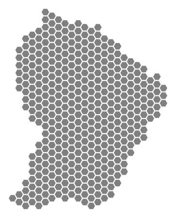 Grey hexagon French Guiana Map. Raster geographic map in gray color on a white background. Raster collage of French Guiana Map organized of hexagonal dots.