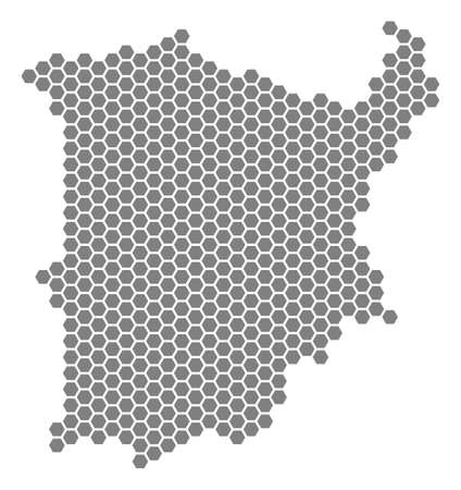 Gray hexagon Koh Samui Map. Raster geographic map in grey color on a white background. Raster collage of Koh Samui Map designed of hexagonal pixels. Stock Photo