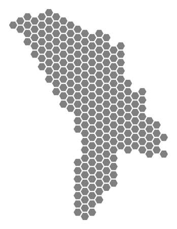 Gray hexagonal Moldova Map. Raster geographic map in grey color on a white background. Raster collage of Moldova Map designed of hexagon dots.