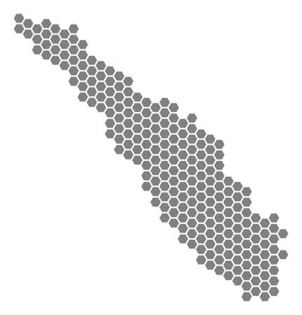 Gray hexagon Sumatra Island Map. Raster geographic map in gray color on a white background. Raster mosaic of Sumatra Island Map constructed of hexagonal spots.