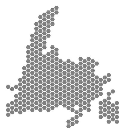 Carte hexagonale grise de l'île de Terre-Neuve. Carte géographique raster en couleur grise sur fond blanc. Collage raster de l'île de Terre-Neuve Carte composée de taches hexagonales. Banque d'images - 99921097
