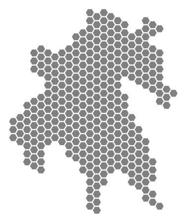 Gray hexagon Peloponnese Half-Island Map. Raster geographical map in grey color on a white background. Raster pattern of Peloponnese Half-Island Map made of hexagonal items.