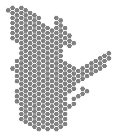 Grey hexagon Quebec Province Map. Raster geographic map in gray color on a white background. Raster mosaic of Quebec Province Map done of hexagon dots.