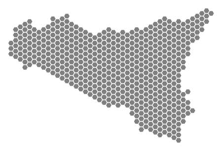 Gray hexagon Sicilia Map. Raster geographical map in gray color on a white background. Raster mosaic of Sicilia Map made of hexagon pixels.