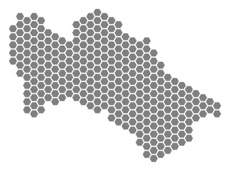 Gray hexagonal Turkmenistan Map. Raster geographic map in grey color on a white background. Raster collage of Turkmenistan Map done of hexagon blots.