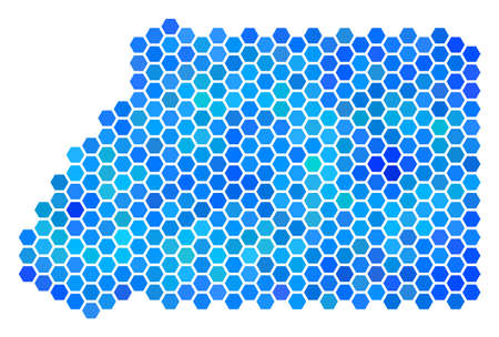 Blue Hexagon Equatorial Guinea Map. Vector geographic map in blue color tinges on a white background. Blue vector pattern of Equatorial Guinea Map done of hexagonal items.