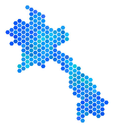 Hexagon blue Laos map vector geographic in blue color variations on a white background. Blue vector pattern of Laos map created of hexagon pixels. Illustration