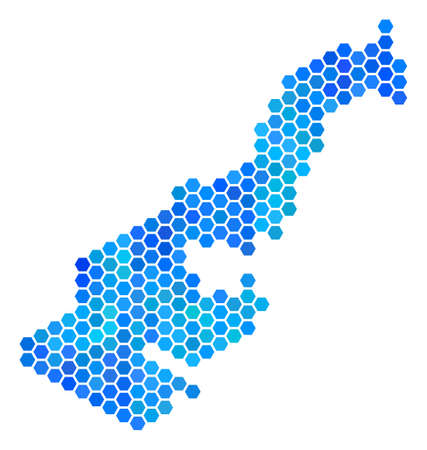 Blue Hexagon Monaco Map. Vector geographic map in blue color tints on a white background. Blue vector mosaic of Monaco Map created of hexagon items.