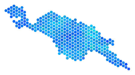 Blue Hexagon New Guinea Countries Map. Vector geographic map in blue color variations on a white background. Blue vector collage of New Guinea Countries Map composed of hexagonal blots.