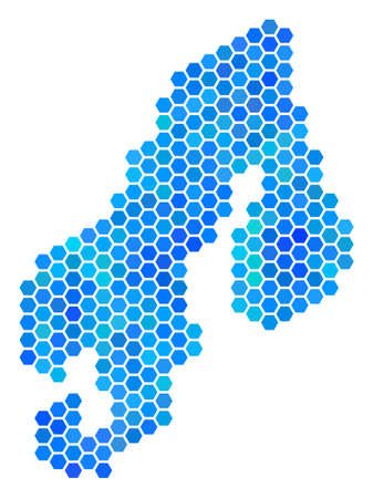 Blue Hexagon Scandinavia Map. Vector geographic map in blue color shades on a white background.